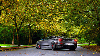 430, silver, tuning, green, autumn, ferrari, asphalt, trees, wheels, leaf