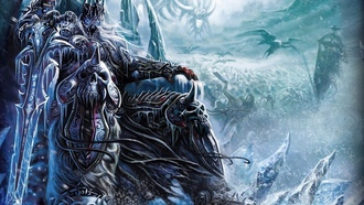 World Of Warcraft, Games, меч, WOW, Lich King, доспехи, трон, World Of Warcraft: Wrath Of The Lich King