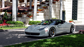 ferrari, villa, tuning, white, 458, italia, yard, grass, wheels