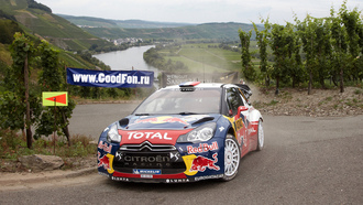 дорога, rally, передок, red bull, citroen, total, речка, ds3, машина