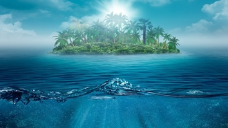 ocean, beautiful, water, island , alone, один, nature, trees, sea, landscape, palms, lonely