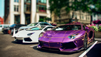 lb performance kit, lamborghini, adv.1 rims, aventador, город, tron, chrome purple