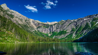 озеро, горы, avalanche lake, природа, nature