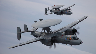 northrop grumman, пара, облака, самолет дрло, advanced hawkeye, e-2d