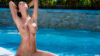 ashlee lynn, brunette, pool, water, droop, nude