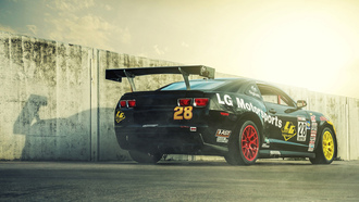 race car, rear, chevrolet, камаро, black, camaro, шевроле, lg motorsports