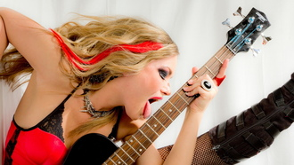 rocker, sharen sitzes, guitar, model