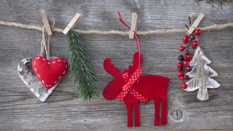 toys, decorations, new year, hearts, merry christmas, christmas tree, reindeer, cherry