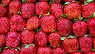 green, strawberries, pattern, red
