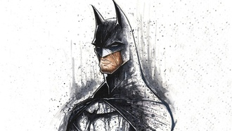 white background, artwork, minimalistic, superheroes, art, batman, dc comics