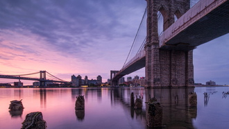 река, сша, нью-йорк, мост, usa, new york, brooklyn bridge, город