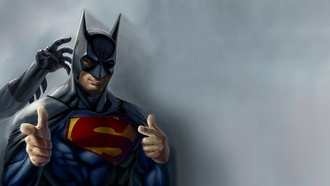 artwork, batman, superheroes, юмор, superman