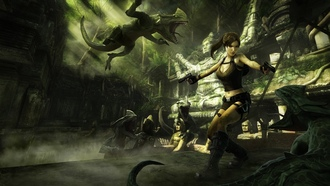 fire, crocodile, ruins, game wallpapers, guns, girl, lara croft tomb raider anniversary