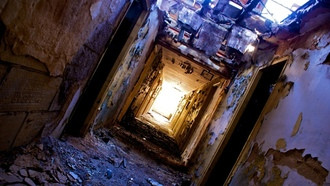 halls, light at the end of the tunnel, heater, dirt, fallen roof, ruin , peeling walls, doors