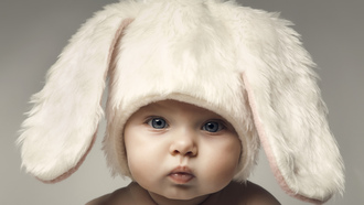 happy baby, kid, children, funny, hat , adorable , rabbit, child, big beautiful blue eyes, easter