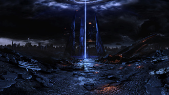 reaper, harbinger, fan, space ship, pano, art, mass effect