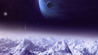 mountains, lights, moon, sci fi, satellite, planets, space ships