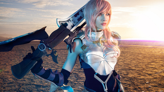 девушка, final fantasy xiii-2, lightning, косплей, lyz brickley