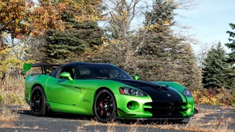 додж, trees, viper, green, acr snakeskin edition, dodge, вайпер, зелёный