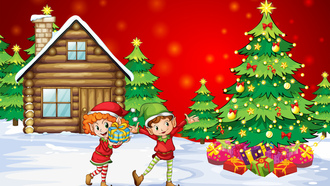 girl, happiness, , gifts, snow, kids, house, new year, christmas, boy , christmas tree, children