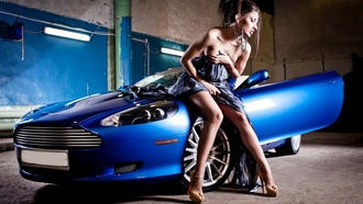 Girl, blue, Aston Martin