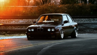 bmw, e30, stance, dapper, car, black, front, ligth, sun