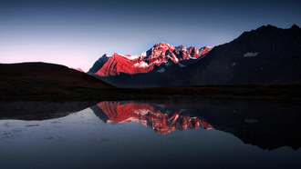 light and darkness, snow, red, mountain, lake