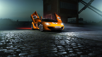mclaren, mp4-12c, orange, color, supercar, nigth, ligth, beam
