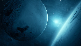 sci fi, 2, two, light, planet blue