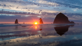 oregon, pacific ocean, скалы, haystack rock, орегон, cannon beach, тихий океан