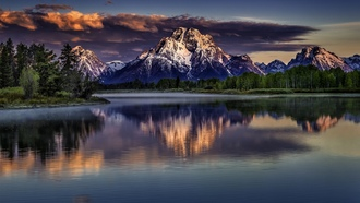 wyoming, grand teton national park, snake river, река снейк, mount moran