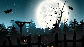 forest, graveyard, halloween, full moon, midnight, horror, bats, scary, pumpkins, creepy, gallows