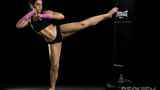 Спорт, kickboxing-girl-workout-kick