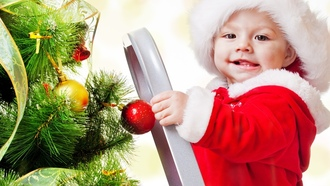 children , ladder, adorable funny beautiful kid, christmas tree, new year, merry christmas