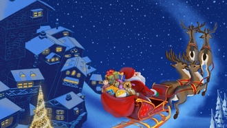town, merry christmas, snow, christmas tree, santa claus is coming , reindeer, new year