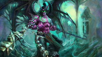 world of warcraft, illidan, цепи, демон, wow, stormrage, рога, крылья
