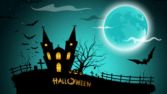 pumpkins, bats, halloween, house, scary, creepy, graveyard, midnight, full moon, horror