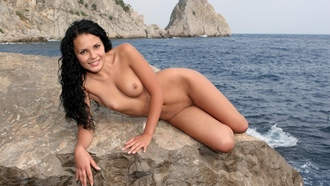 armida, brunette, tits, nude, outdoor, smile, ocean, rock, juicy, beauty, nipples, puffy nipples