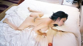 feng yu zhi, exotic, brunette, curvy, actress, model, busty, chinese, sexy babe, long hair, posing, laying, naked, apple, bed, nice rack, sexy ass, erotic