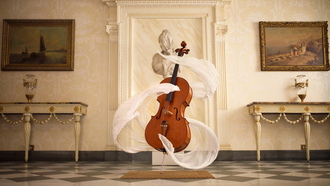 statue, music, instrument, spirit, cello, surreal, scarf, bright