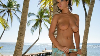 angel dark, babe, pornstar, brunette, big tits, natural tits, long legs, island girl, great body, palm trees