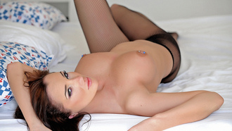 georgie darby, hot, sexy, sensual, gorgeous, perfect, big tits, brunette, bed, sensual