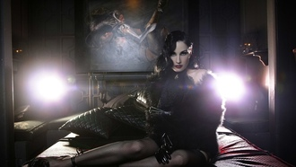 dita von teese, model, sexy babe, lingerie, actress, glamour, international burlesque star, dita, playmate, dancer, sitting, bed, black, fur, fishnet, stockings, gloves