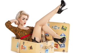 sinderella rockafella, blonde, british, glamour, pin up, model, slim, busty, sexy babe, short hair, posing, sitting, sexy dressed, retro, pin up style, suitcase, lift, legs, stockings, high heels, erotic, hi-q