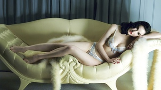 sofa, brunette, lingerie, , dita von teese, international burlesque star, dita, playmate, dancer, bra, panty, legs, feet, model, posing, sexy, lingerie series