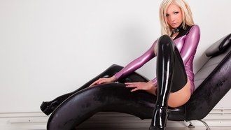 susan wayland, blonde, german, fetish model, busty, sexy babe, long hair, sitting, posing, latex, lingerie, body, stockings