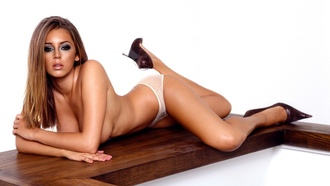 keeley hazell, beautiful, lingerie, heels, hot, legs, panties, brownette, real celebs wall, hi-q, great body, natural beauty