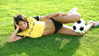 lingerie, soccer, ball, grass, outdoor, sexy, brunette, monika vesela, sports