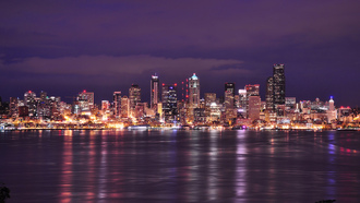bay, вашингтон, usa, seattle, washington, sky, purple, night, сша, city, clouds, lights
