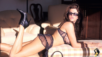 dana hamm, brunette, sexy, boobs, sunglasses, high heels, hot, lingerie